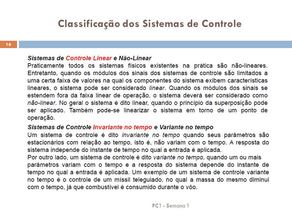 Classificação dos Sistemas de Controle