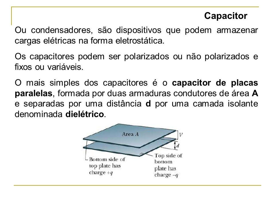 Capacitor Ou condensadores, são dispositivos que podem armazenar cargas elétricas na forma eletrostática.