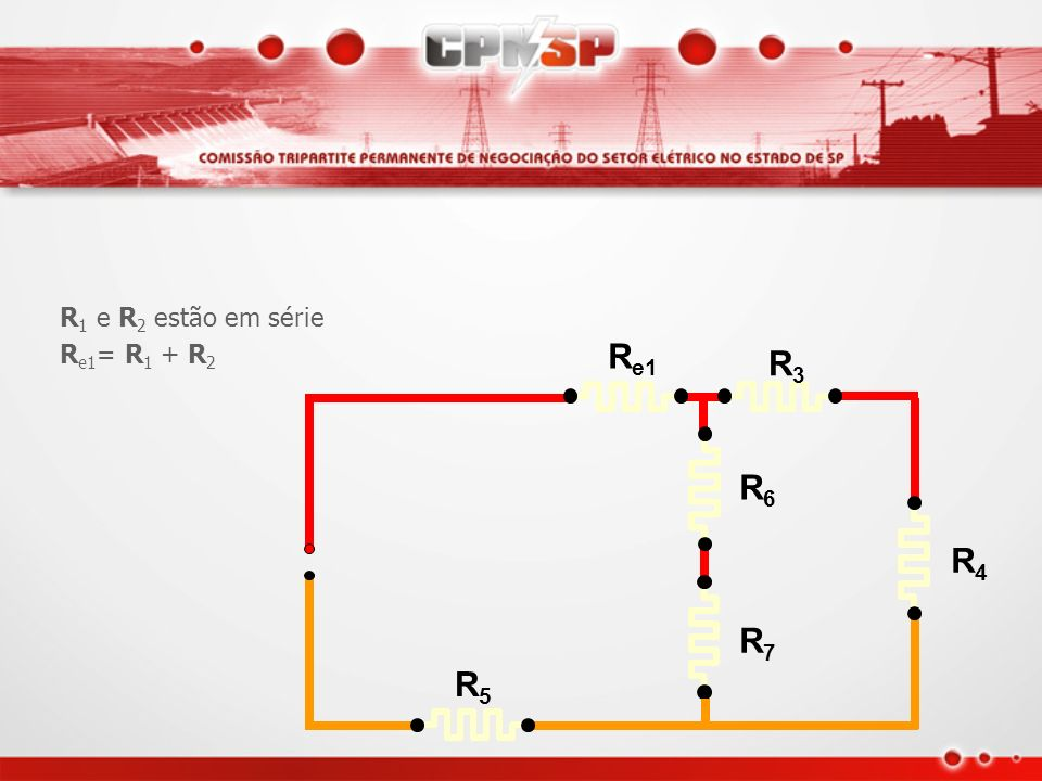 R1 e R2 estão em série Re1= R1 + R2 Re1 R3 R4 R5 R6 R7