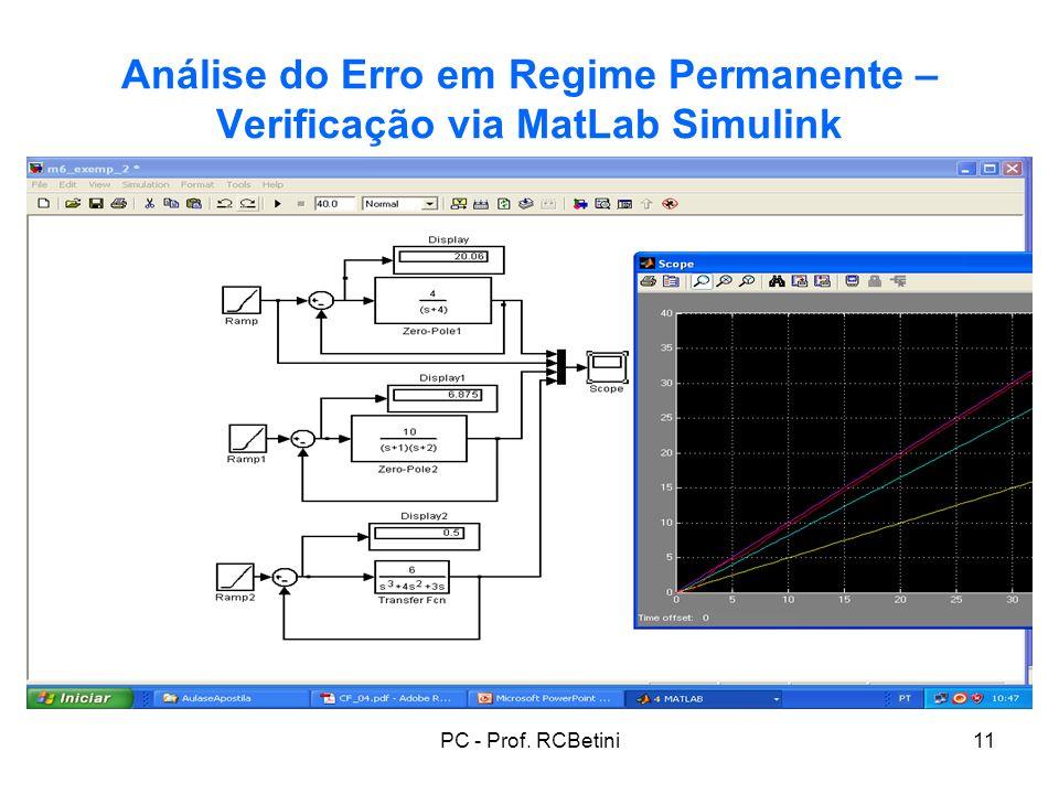 Análise do Erro em Regime Permanente – Verificação via MatLab Simulink