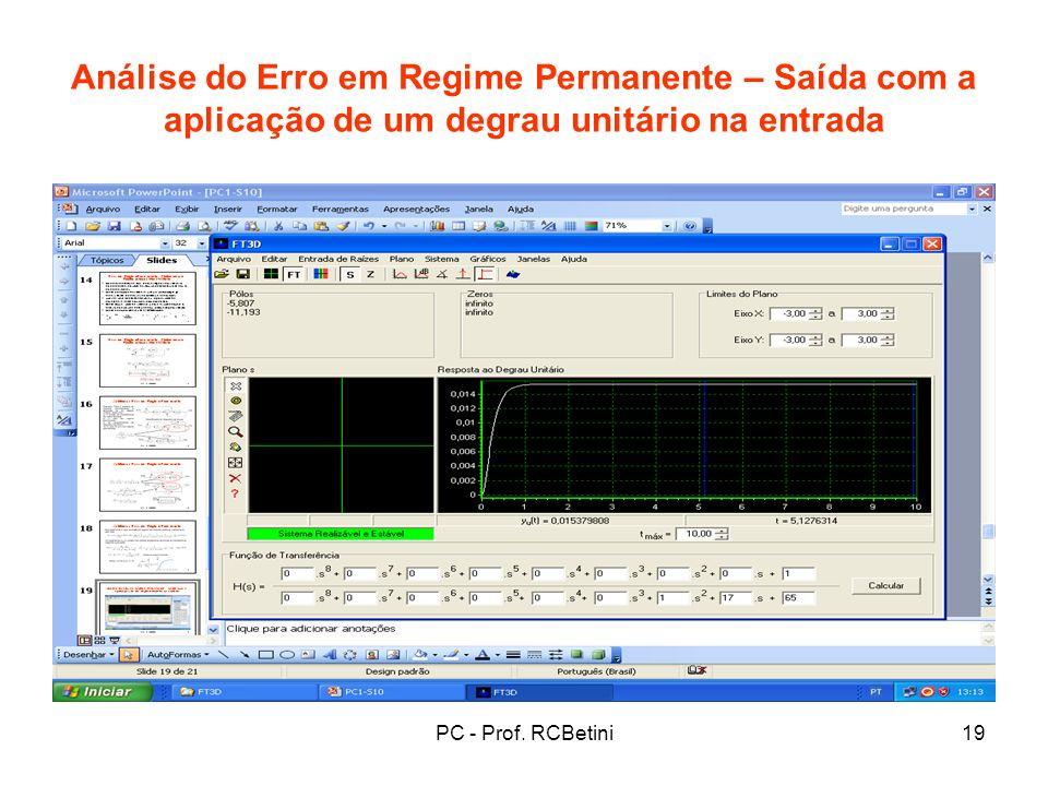 Análise do Erro em Regime Permanente – Saída com a aplicação de um degrau unitário na entrada