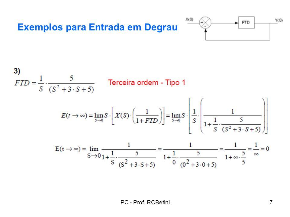 Exemplos para Entrada em Degrau