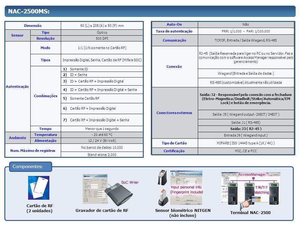 Num. Máximo de registros Sensor biométrico NITGEN