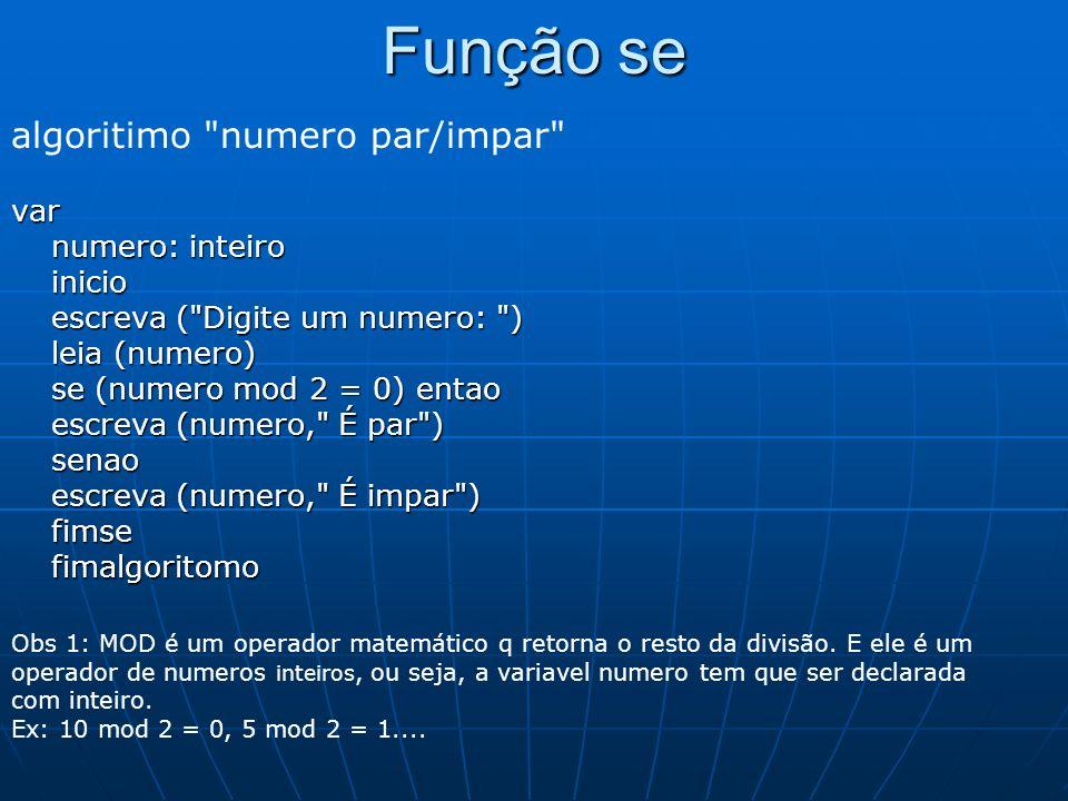 Função se algoritimo numero par/impar