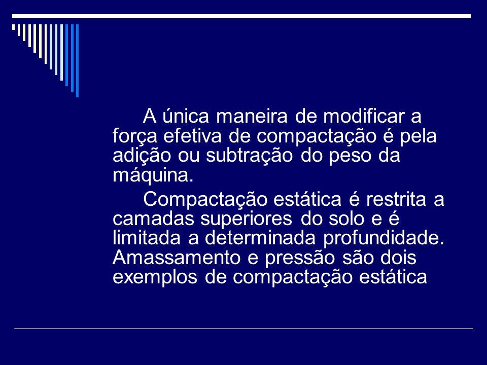 A única maneira de modificar a força efetiva de compactação é pela adição ou subtração do peso da máquina.
