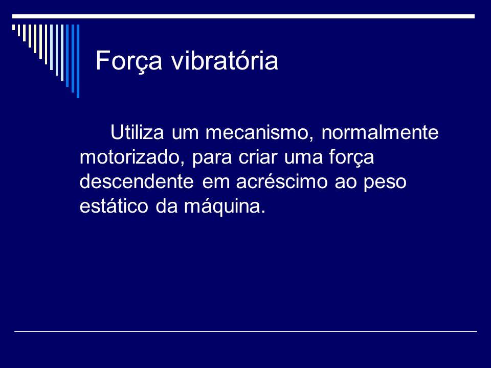 Força vibratória Utiliza um mecanismo, normalmente motorizado, para criar uma força descendente em acréscimo ao peso estático da máquina.