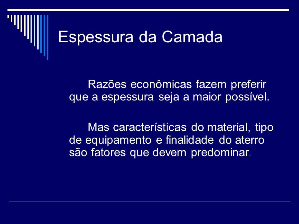 Espessura da CamadaRazões econômicas fazem preferir que a espessura seja a maior possível.