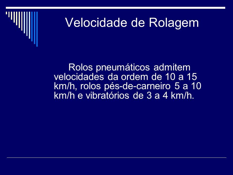 Velocidade de Rolagem Rolos pneumáticos admitem velocidades da ordem de 10 a 15 km/h, rolos pés-de-carneiro 5 a 10 km/h e vibratórios de 3 a 4 km/h.