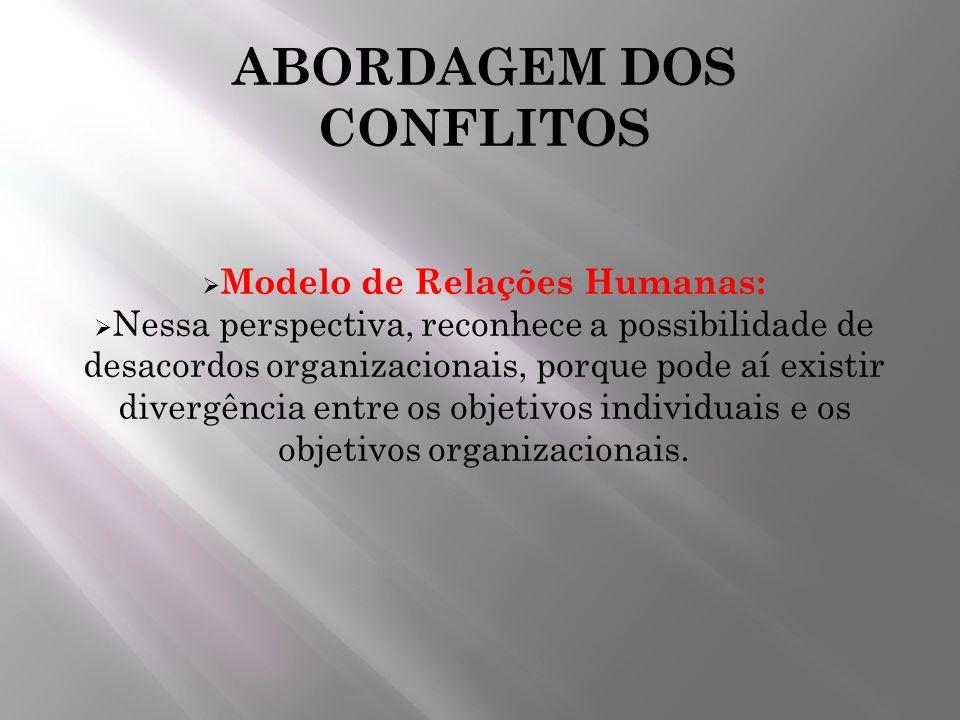ABORDAGEM DOS CONFLITOS Modelo de Relações Humanas: