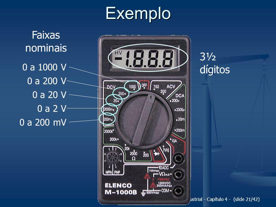 Exemplo Faixas nominais 3½ dígitos 0 a 1000 V 0 a 200 V 0 a 20 V
