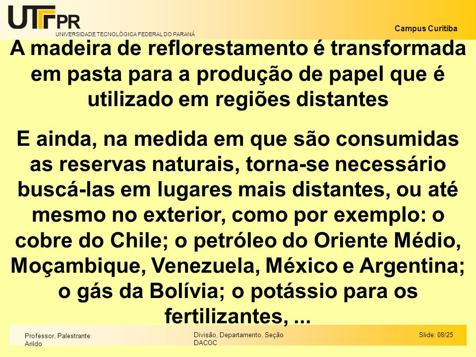 A madeira de reflorestamento é transformada em pasta para a produção de papel que é utilizado em regiões distantes
