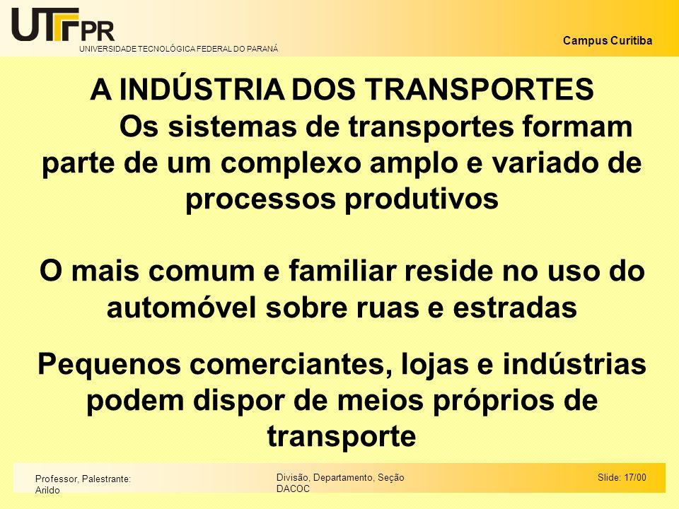 A INDÚSTRIA DOS TRANSPORTES