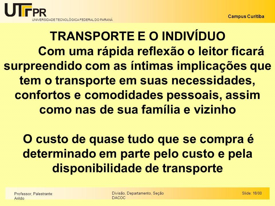 TRANSPORTE E O INDIVÍDUO