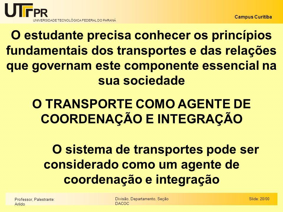 O TRANSPORTE COMO AGENTE DE COORDENAÇÃO E INTEGRAÇÃO