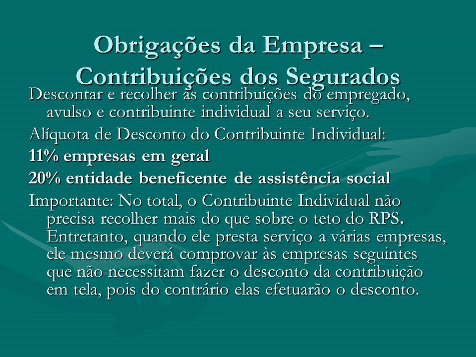 Obrigações da Empresa – Contribuições dos Segurados