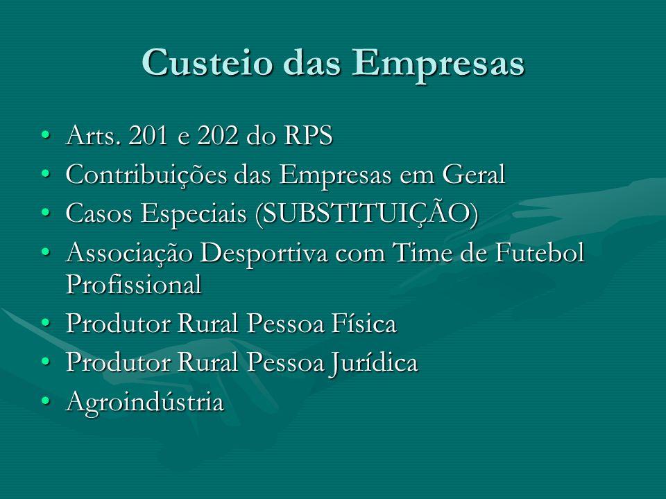 Custeio das Empresas Arts. 201 e 202 do RPS