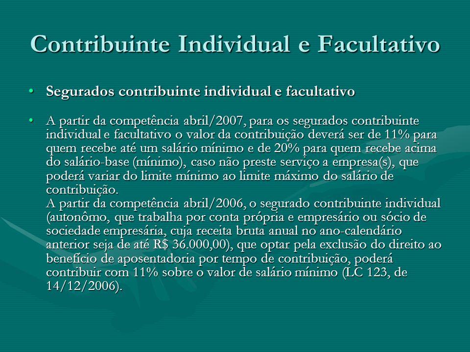 Contribuinte Individual e Facultativo