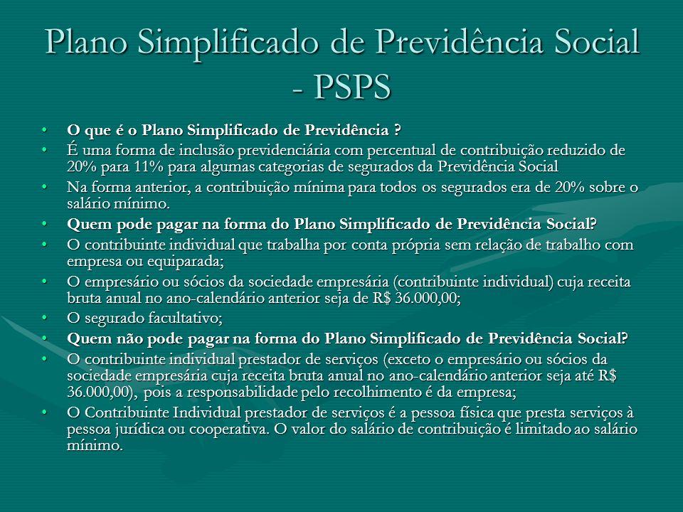 Plano Simplificado de Previdência Social - PSPS