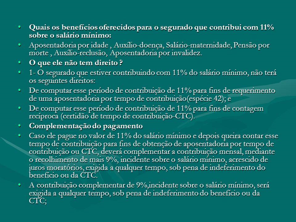 Quais os benefícios oferecidos para o segurado que contribui com 11% sobre o salário mínimo: