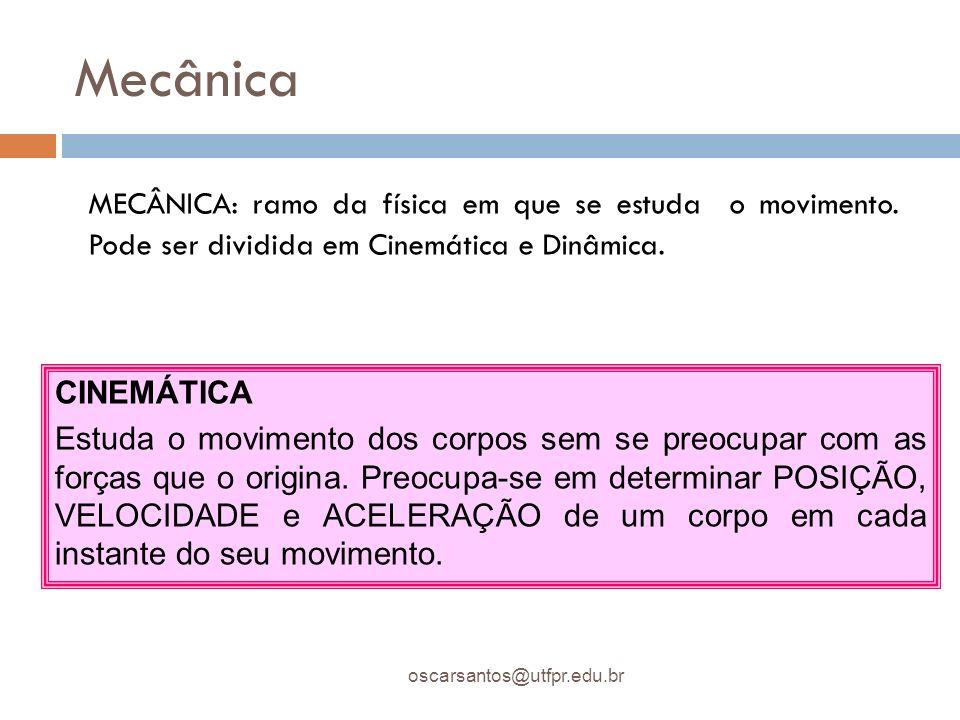 Mecânica MECÂNICA: ramo da física em que se estuda o movimento. Pode ser dividida em Cinemática e Dinâmica.
