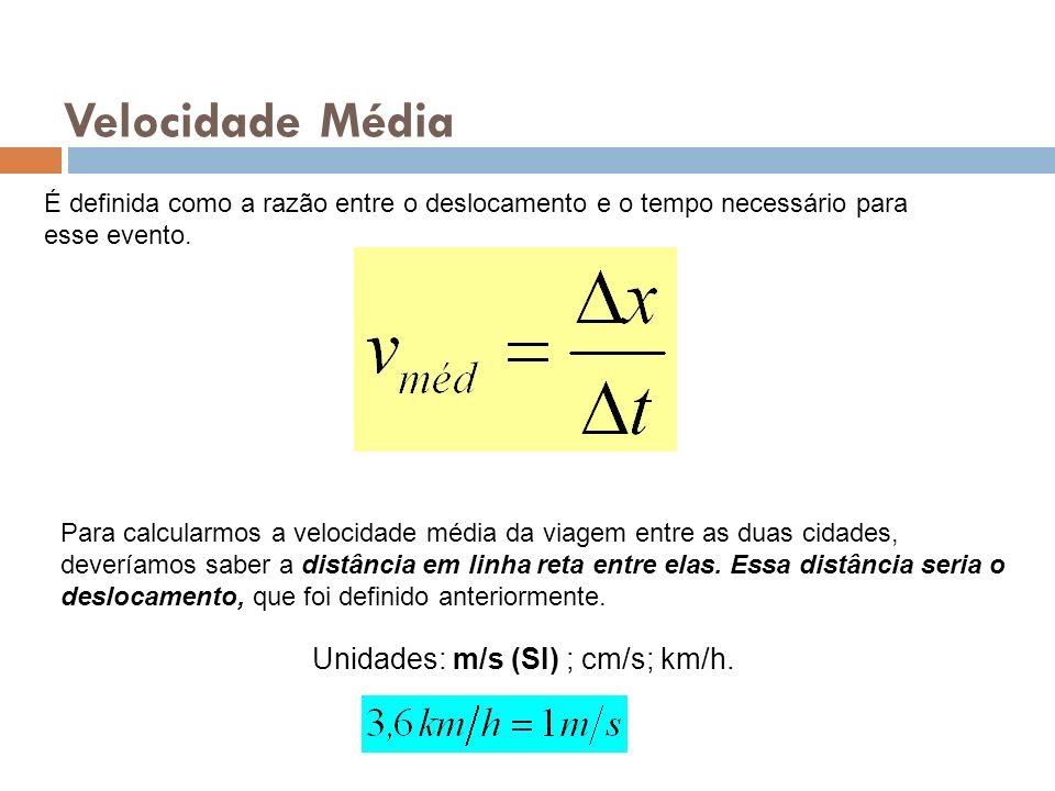 Velocidade Média Unidades: m/s (SI) ; cm/s; km/h.