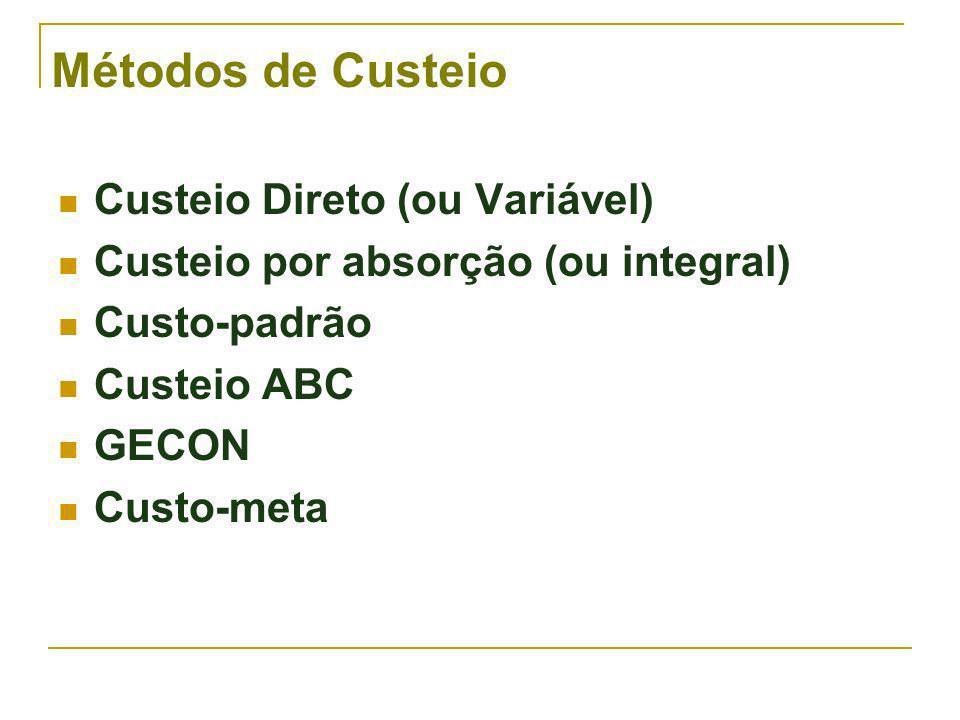 Métodos de Custeio Custeio Direto (ou Variável)