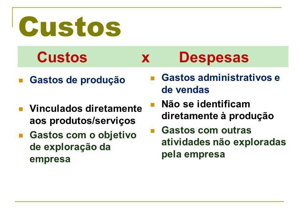 Custos Custos x Despesas Gastos administrativos e de vendas