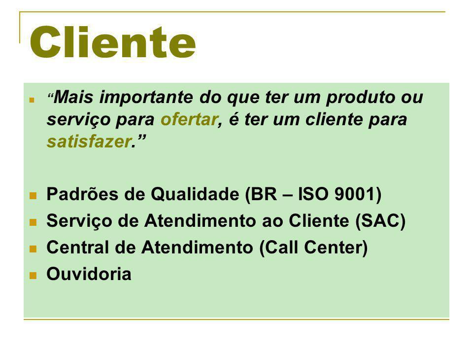 Cliente Padrões de Qualidade (BR – ISO 9001)