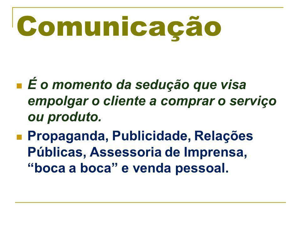 Comunicação É o momento da sedução que visa empolgar o cliente a comprar o serviço ou produto.