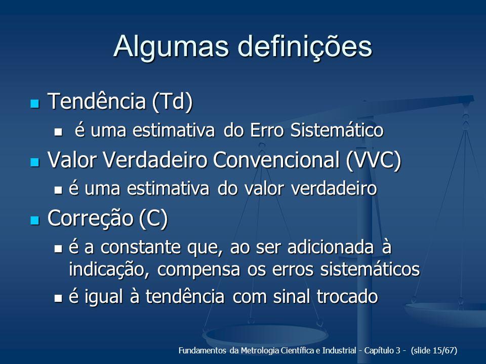 Algumas definições Tendência (Td) Valor Verdadeiro Convencional (VVC)