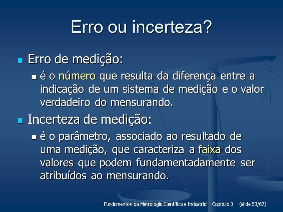 Erro ou incerteza Erro de medição: Incerteza de medição: