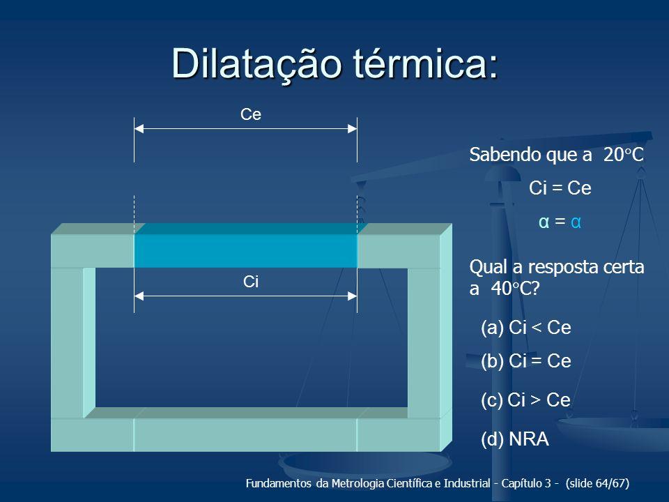 Dilatação térmica: Sabendo que a 20C Ci = Ce α = α