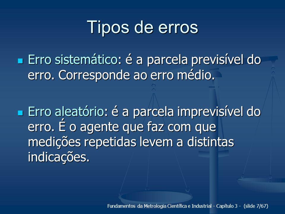 Tipos de erros Erro sistemático: é a parcela previsível do erro. Corresponde ao erro médio.