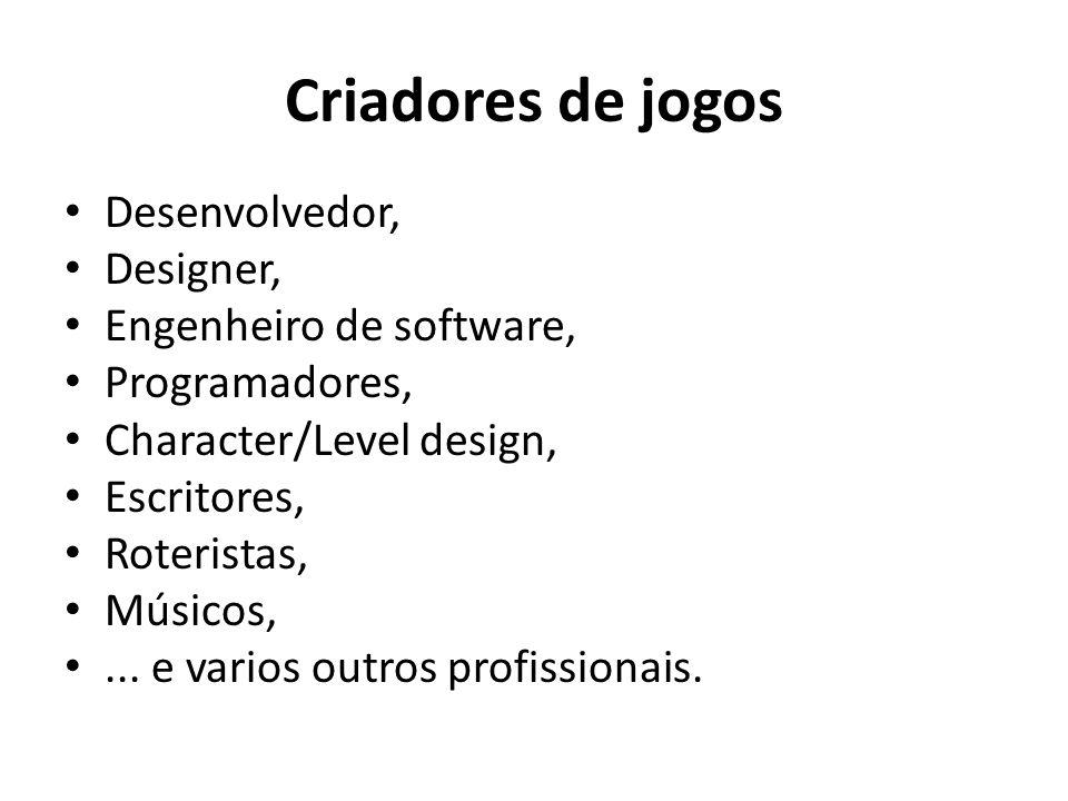 Criadores de jogos Desenvolvedor, Designer, Engenheiro de software,