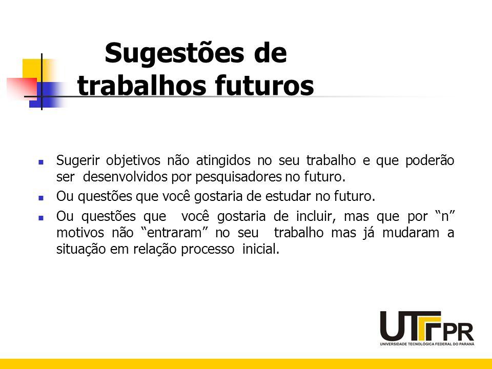 Sugestões de trabalhos futuros