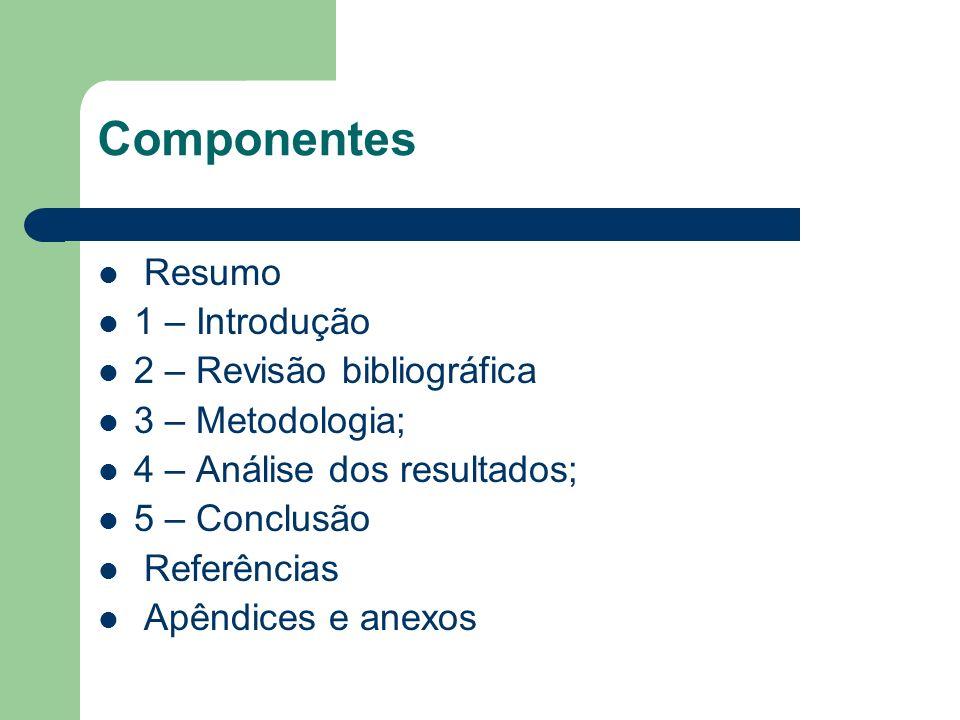 Componentes Resumo 1 – Introdução 2 – Revisão bibliográfica