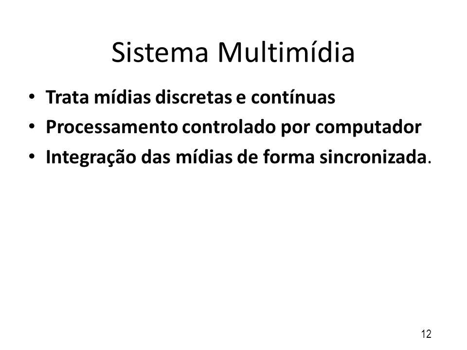 Sistema Multimídia Trata mídias discretas e contínuas