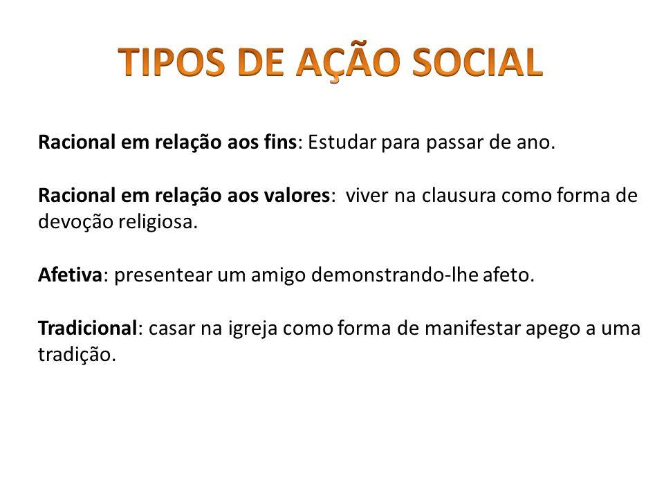 TIPOS DE AÇÃO SOCIAL Racional em relação aos fins: Estudar para passar de ano.