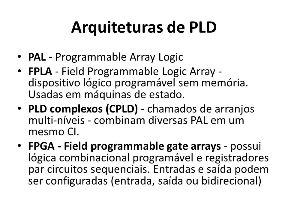 Arquiteturas de PLD PAL - Programmable Array Logic
