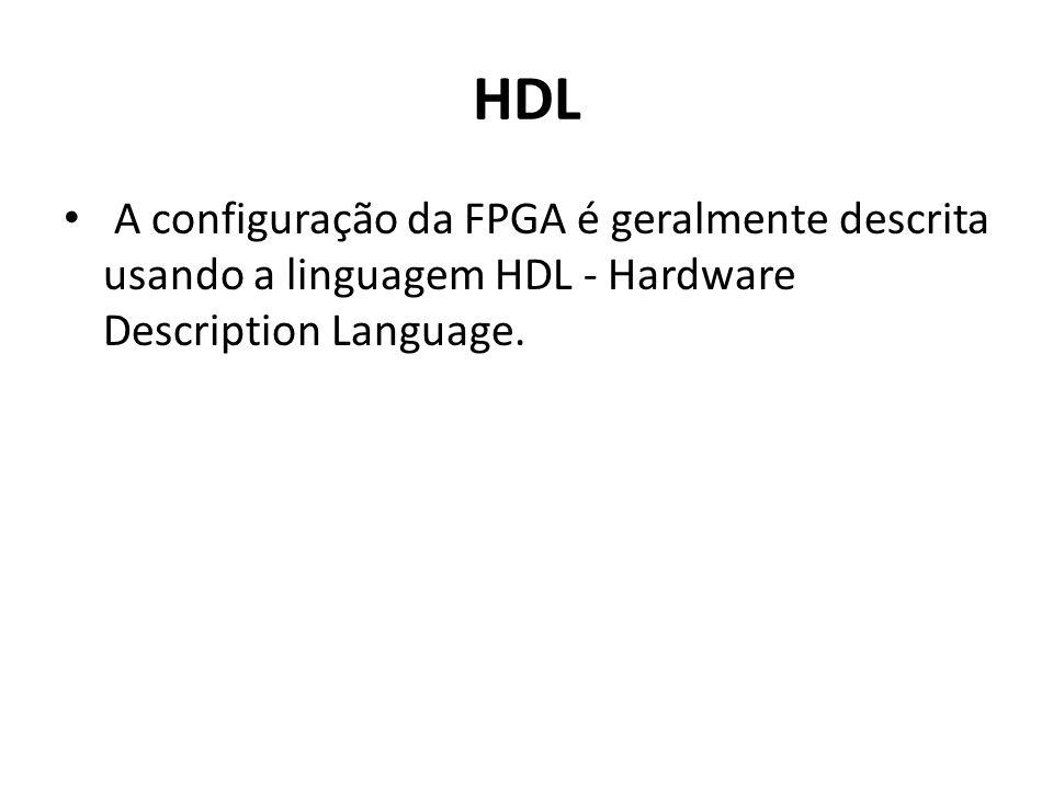 HDL A configuração da FPGA é geralmente descrita usando a linguagem HDL - Hardware Description Language.