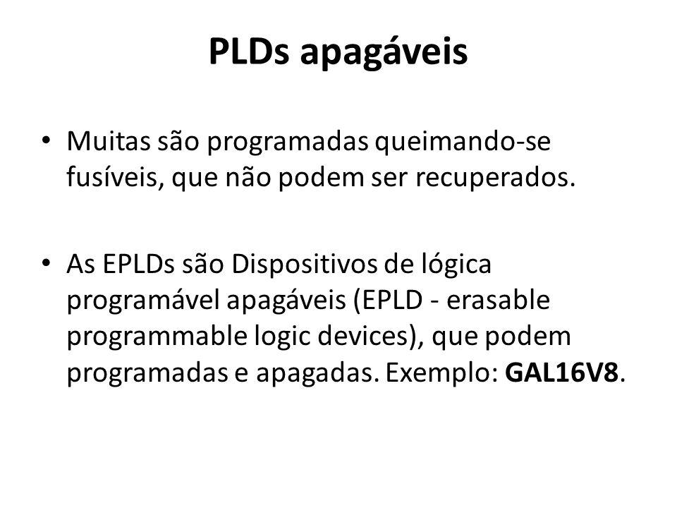 PLDs apagáveis Muitas são programadas queimando-se fusíveis, que não podem ser recuperados.