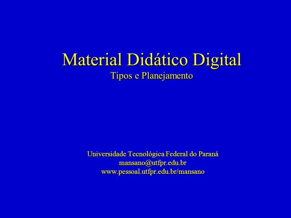 Material Didático Digital Tipos e Planejamento