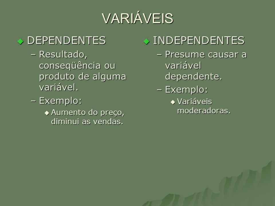 VARIÁVEIS DEPENDENTES INDEPENDENTES