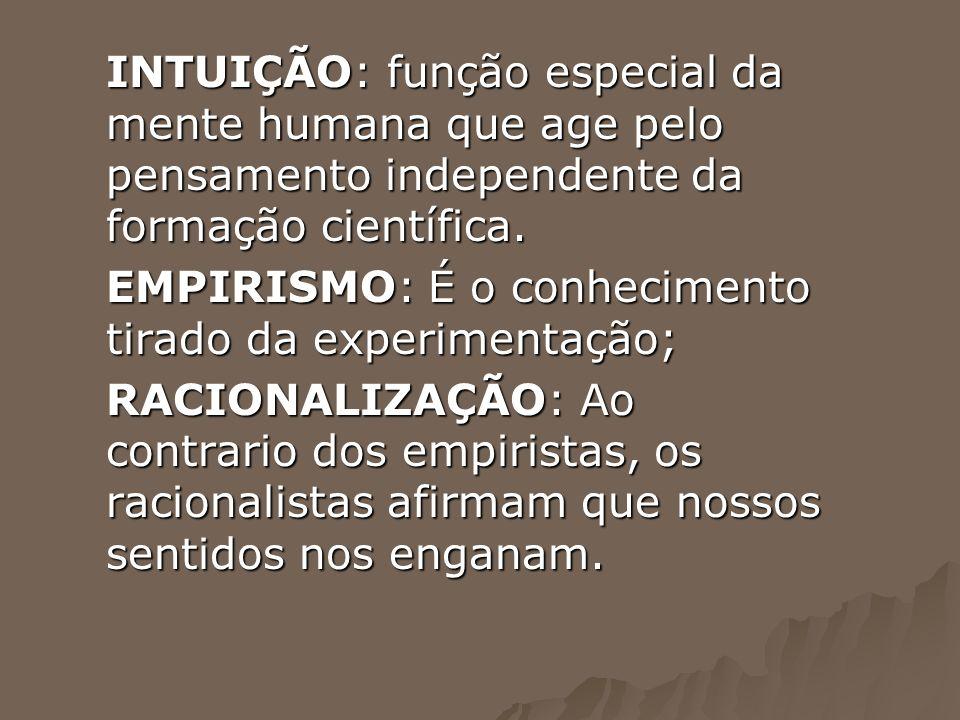 INTUIÇÃO: função especial da mente humana que age pelo pensamento independente da formação científica.