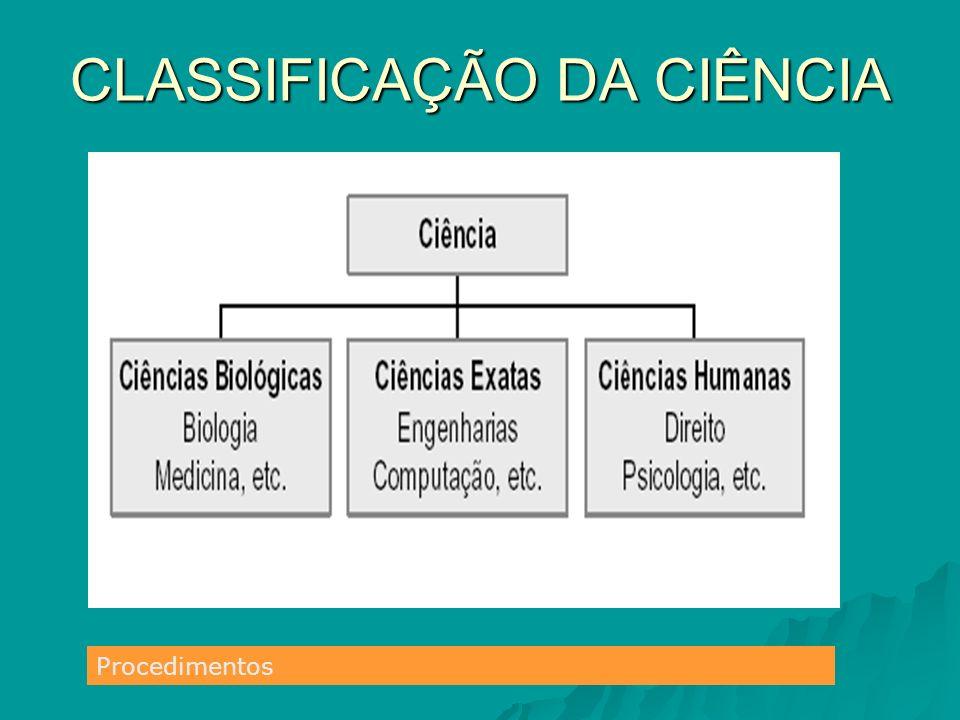 CLASSIFICAÇÃO DA CIÊNCIA