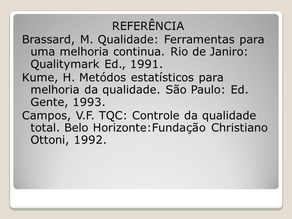 REFERÊNCIA Brassard, M. Qualidade: Ferramentas para uma melhoria continua.