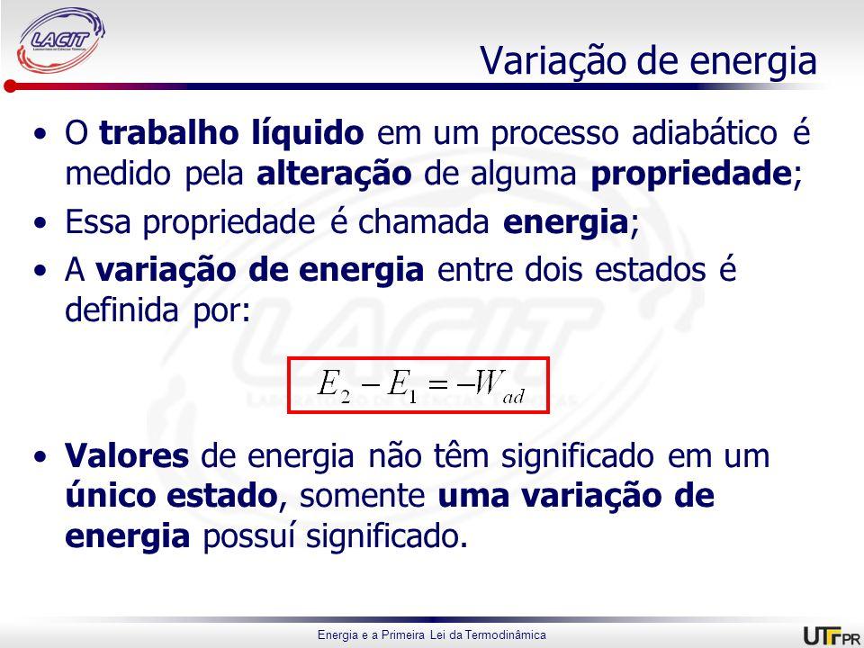 Variação de energia O trabalho líquido em um processo adiabático é medido pela alteração de alguma propriedade;