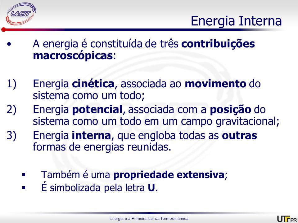 Energia Interna A energia é constituída de três contribuições macroscópicas: Energia cinética, associada ao movimento do sistema como um todo;