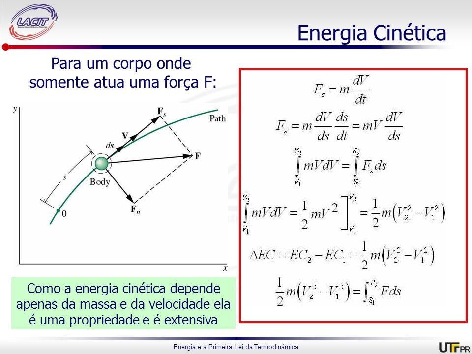 Energia Cinética Para um corpo onde somente atua uma força F: