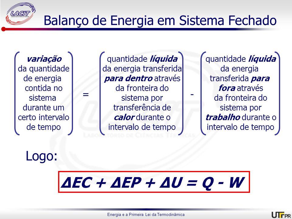 Balanço de Energia em Sistema Fechado